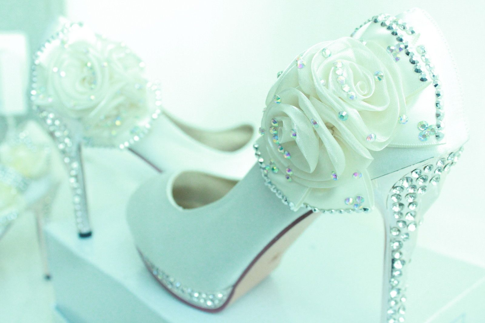 Wedding shoes, prom shoes, diamante shoes ,crystal shoes high heels ...