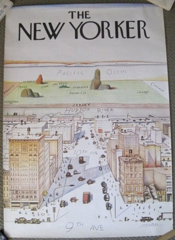 New Yorkers Map Of The World.Original 1976 New Yorker Poster Saul Steinberg View Of The World