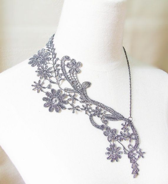 Pearls Beaded White Floral Lace Necklace Wedding Bridal