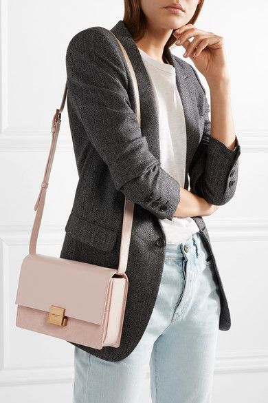 5a311db99 Saint Laurent | Bellechasse medium textured-leather and suede shoulder bag  | NET-A-PORTER.COM. Pale-pink ...