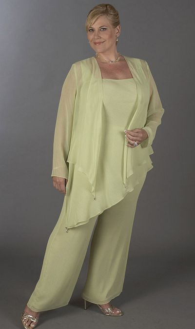 Plus Size Custom Made Chiffon Mother Of the Bride Pant Suits Set 3 ...