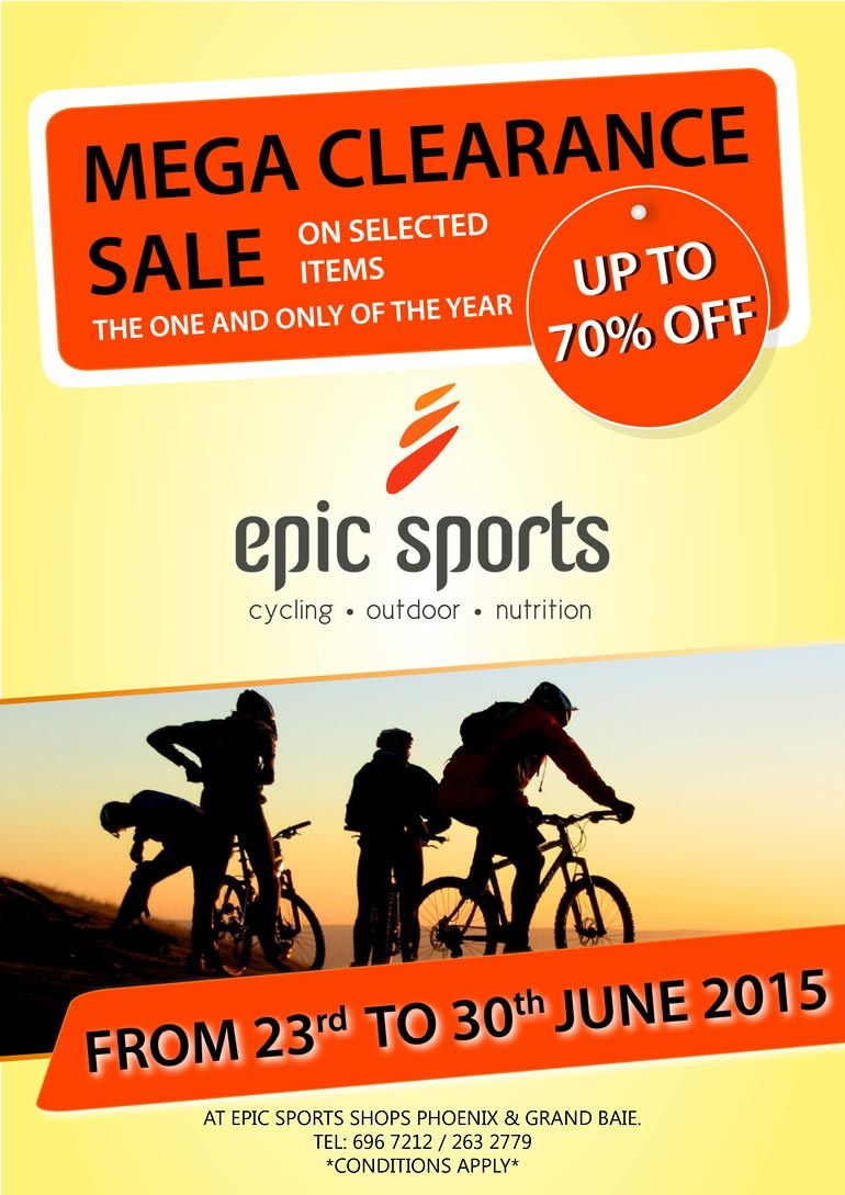 Epic Sports Shops - Mega Clearance Sale  Tel: 696 7212 / 263