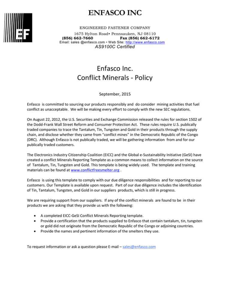 Enfasco Inc Enfasco Inc Conflict Minerals Policy Throughout Eicc Conflict Minerals Reporting Template Professional Template I 2020