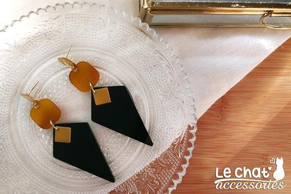 RESIN EARRINGS, RHOMBUS earrings, Aesthetic jewelry, Tortoise shell earrings, Black gold earr…