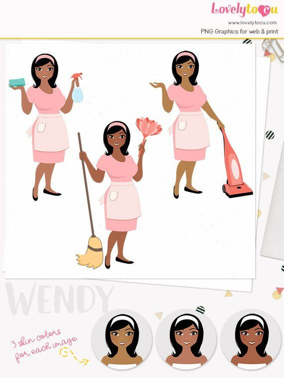 cleaning woman character clipart housework chores woman clipart set