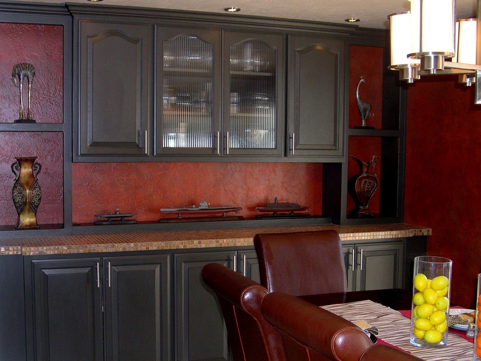 black cabinet with red backsplash | Red kitchen walls ...