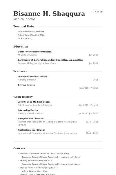 Volunteer As Medical Doctor Resume Example  Cv