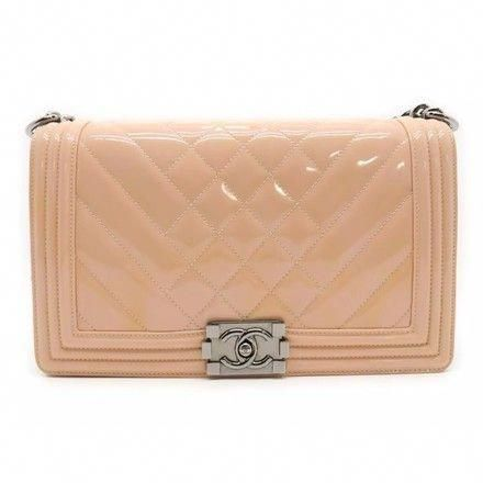 1e22a95f1a6c The Chanel Boy Medium Quilted Crossbody Chain Pink Patent Leather Shoulder  Bag is a top… | Chanel handbags in 2018…
