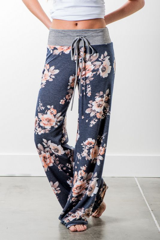 67aec209df5f2 Best workout leggings, fitness and yoga pants at afordable prices.  RubyClaire Boutique - Harvest Floral Wide Leg Loungers | Navy ...