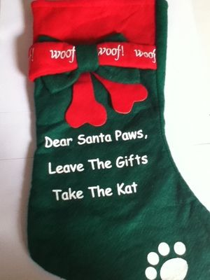 Details about  /Christmas Stocking Pet Dog Green w// Red Dear Santa Leave The Gifts Take The Kat