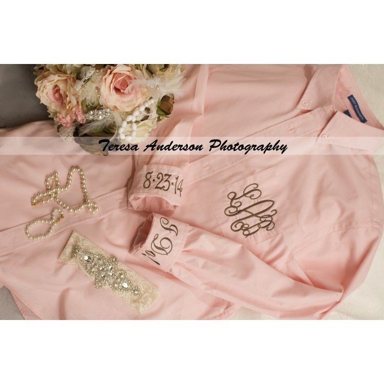 Monogrammed Oversized Pink On Down Shirt By E L Riley At Elriley