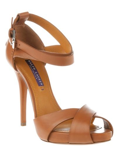 e2e09917a39711 Brown leather Jessira sandal from Ralph Lauren featuring a peep toe ...