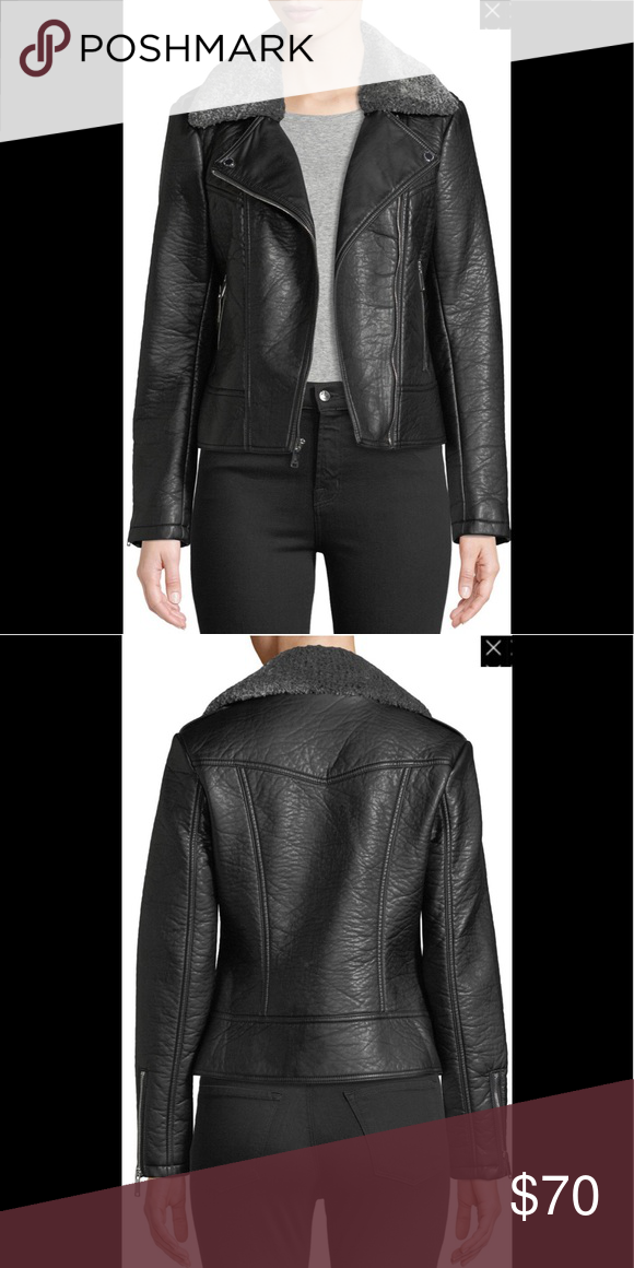 43e1b825241d French Connection Faux Leather Shearling Collar French Connection Womens  Faux Leather Moto Jacket With Shearling Collar