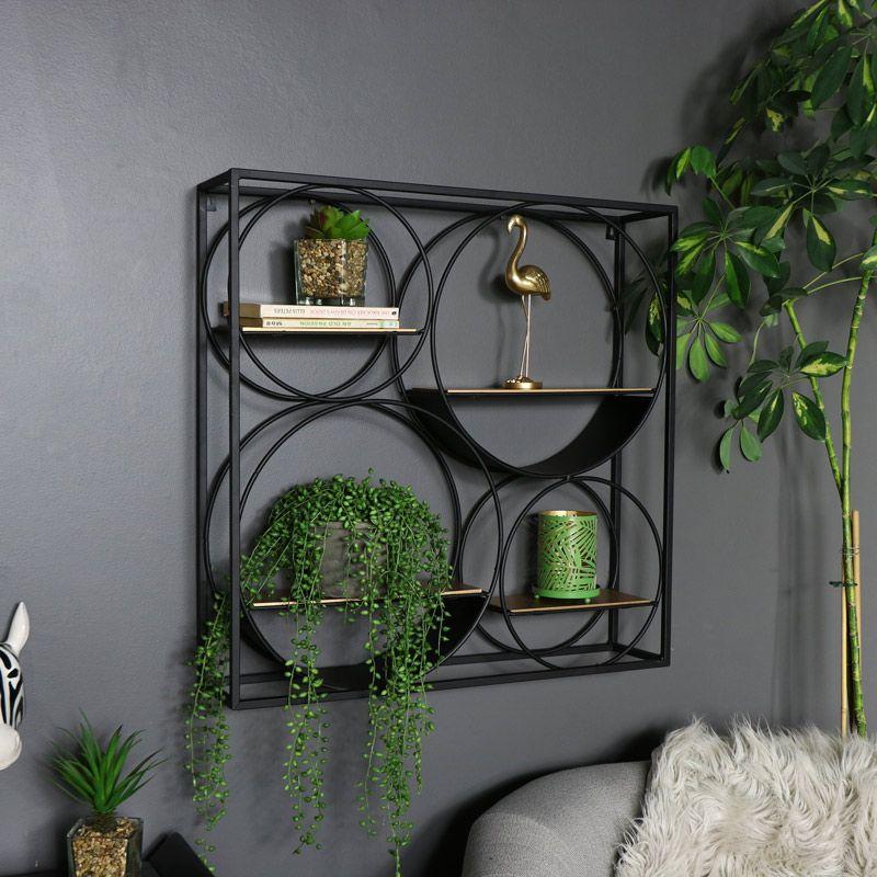 Large Black And Copper Wall Shelf Unit Black Wall Shelves Metal Wall Shelves Wall Shelf Unit