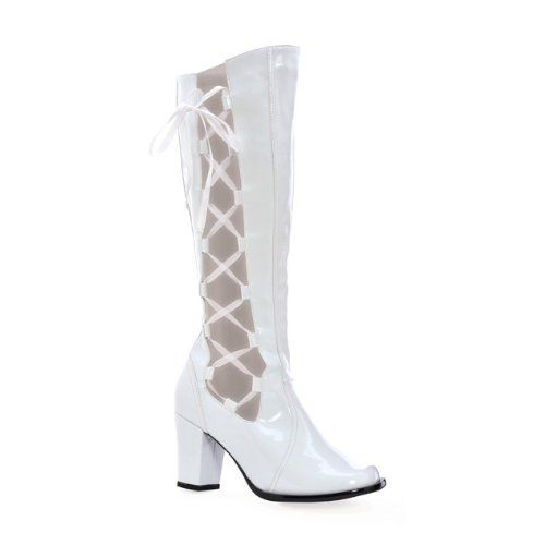 3 Inch Knee High Go Go Boots Patent Chunky Heel Halloween Boots Side ...