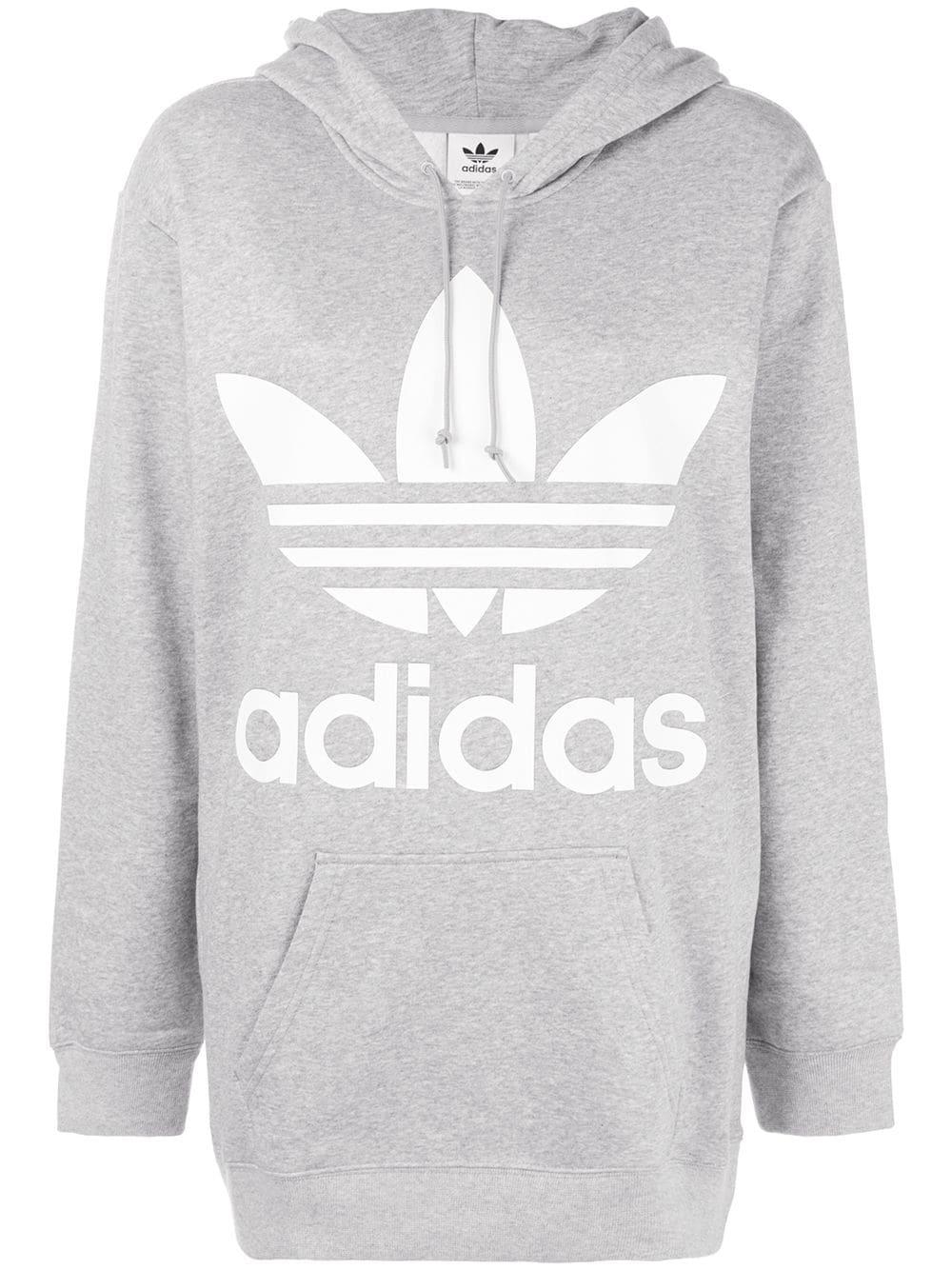 7973f4a50 Adidas oversized logo hoodie - Grey Adidas Oversized Logo Hoodie - Farfetch