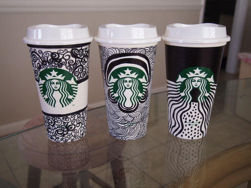 starbucks decorated cups put them on display around. Black Bedroom Furniture Sets. Home Design Ideas