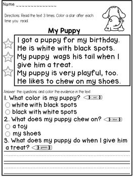 First Grade Reading Comprehension Passages   Reading comprehension ...