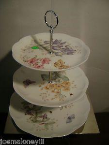 Lenox Butterfly Meadow Tea Sandwich Dessert 3 Tier Cake