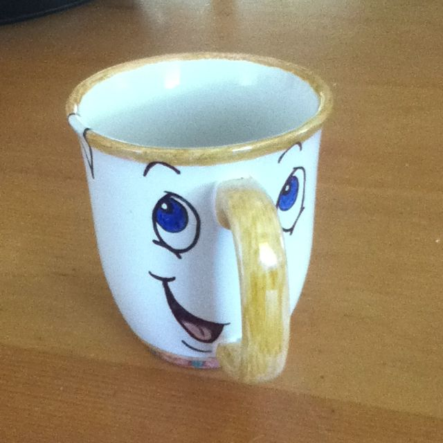 1089c88184e3 DIY color me mine. My sister took a sharpie to a white mug and baked it for  30 minutes   350. Became this masterpiece! Chip from beauty and the beast.