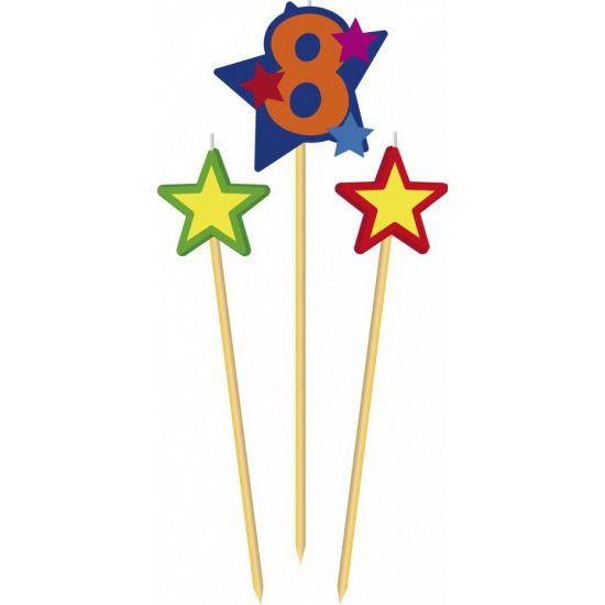 Prikker kaarsje cijfer 8. Set van 8 houten prikkers met kaarsje waaronder een prikker met het cijfer 8 en twee prikkers met een ster.