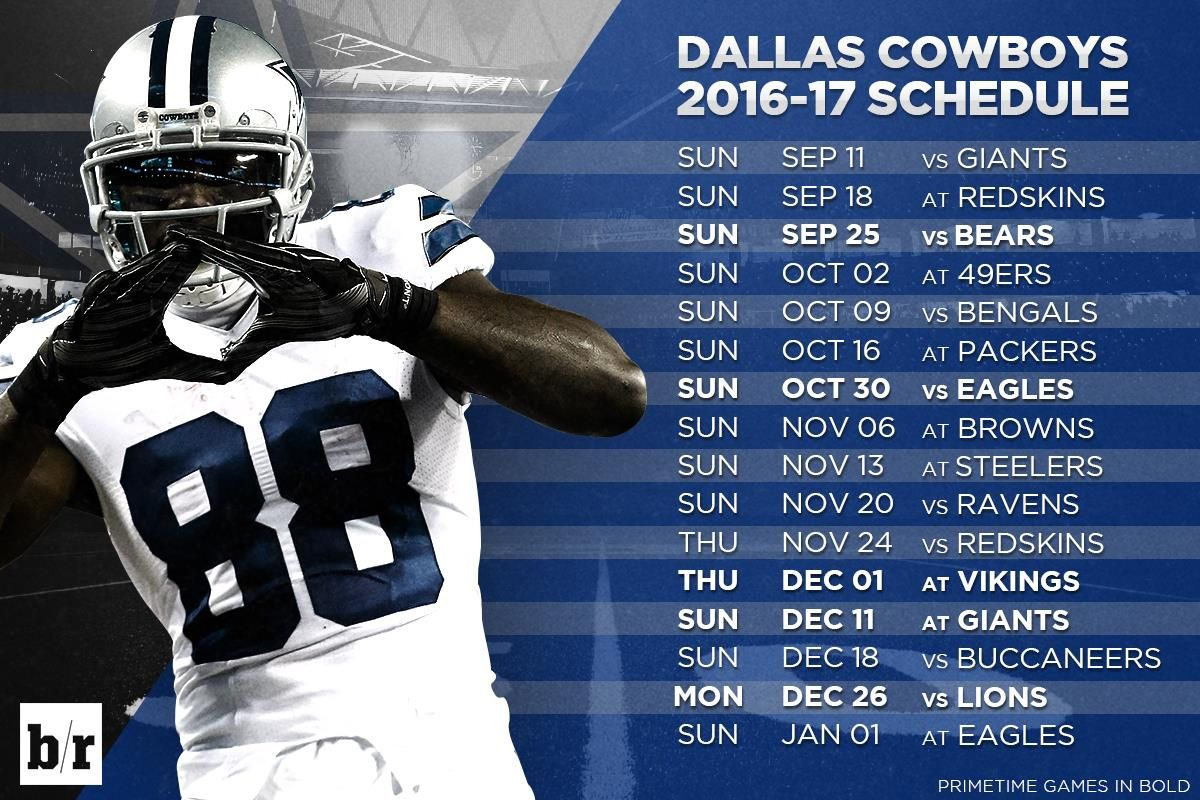 Here is the 20162017 schedule for the Dallas Cowboys