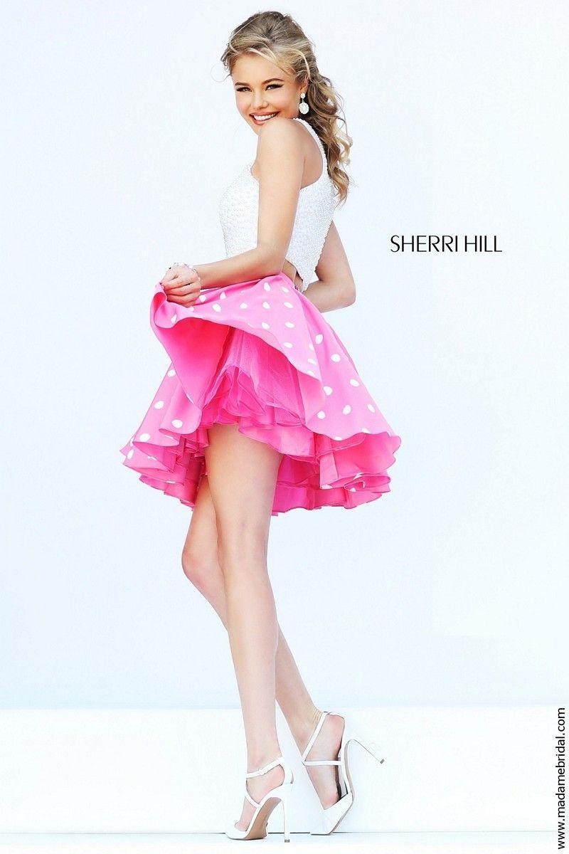 Sherri Hill 32244 Two-Piece Pearl Beadwork Crop Top Polka Dot Skirt ...