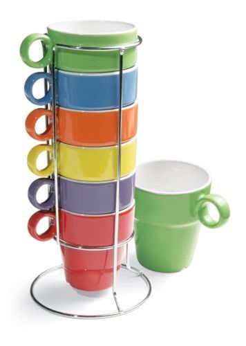 6 Pc Stacking Rainbow Asst Color Coffee Cup Mug Stand Set New