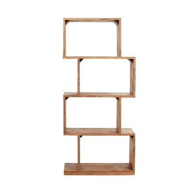 Loon Peak® Get the most out of your interior space with an accessory of incredible charm and outstanding function. Featuring an edgy boho design, our etagere bookcase uses an unconventional structure to create an artistic look for your home. This features an eye-catching stacked look that allows you to organize and display your items with an effortless vibe. Carefully handcrafted and constructed of rich acacia wood, this piece offers to assure stability and a sleek look, making this the perfect