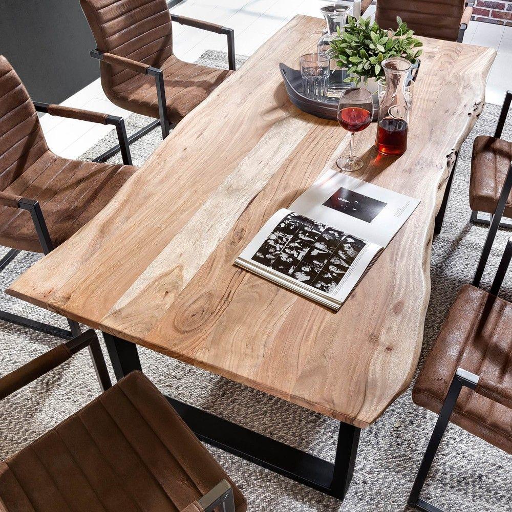 Baumkanten Esstisch Estate Aus Akazie Massiv Eisen Jpg Holztisch Esszimmer Kuche Tisch Esszimmertisch