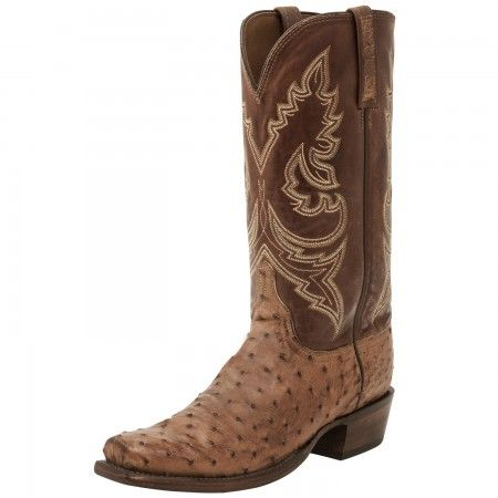 58210105e21 Custom Lucchese Mens Bryan Full Quill Ostrich Cowboy Boots Barnwood ...