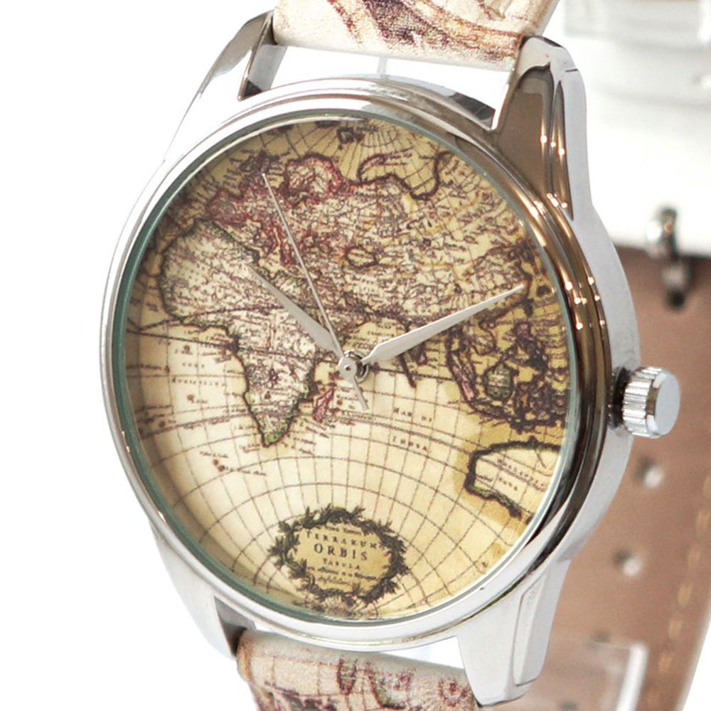 World map womens mens quartz watch 18th 21st 30th 40th birthday gift quartz stainless steel watch 38mm bands old world map gift ideas for women men ziz gumiabroncs Gallery