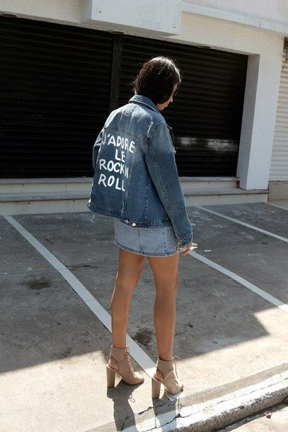 Jacket Skirt Lace Up Heels Tumblr Blue Denim Customized Mini Skirt Denim Skirt High Heels Heels