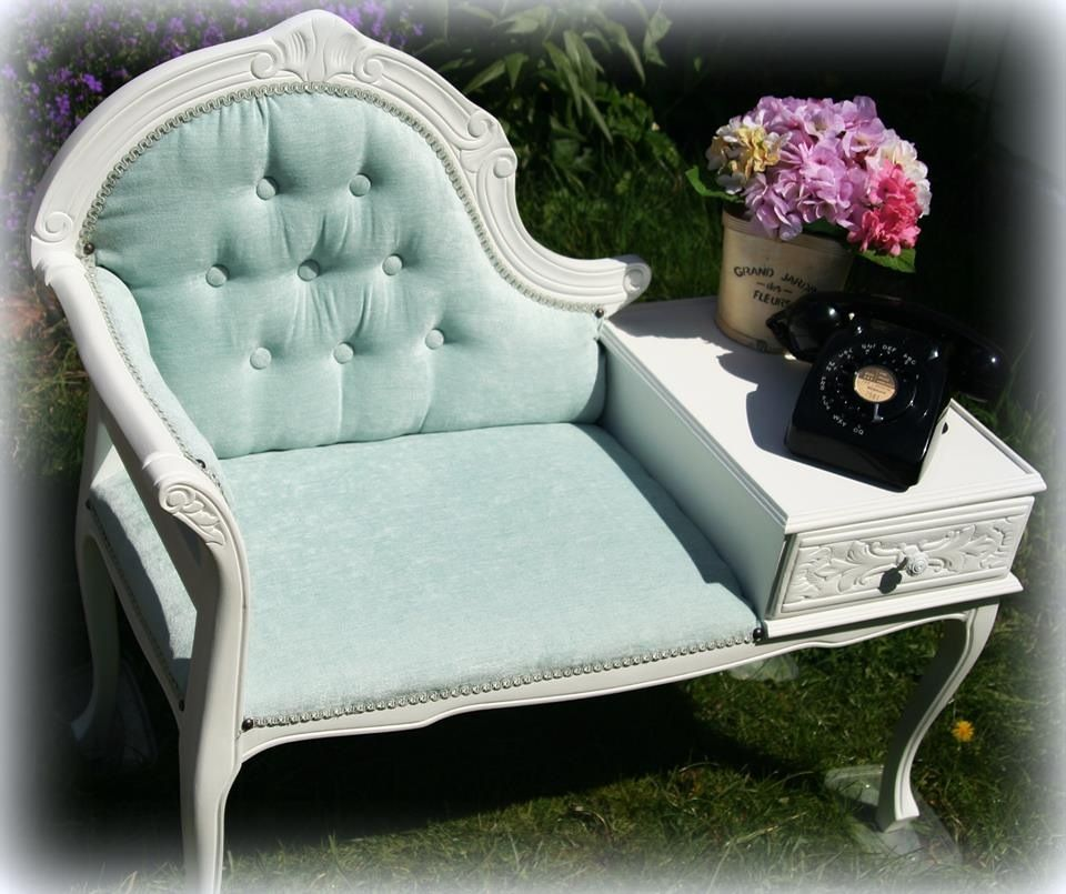 Telephone table chair. stripped and painted in Laura Ashley white cotton then Reupholstered in duck egg blue material.  https://www.facebook.com/shedinthegarden?directed_target_id=0