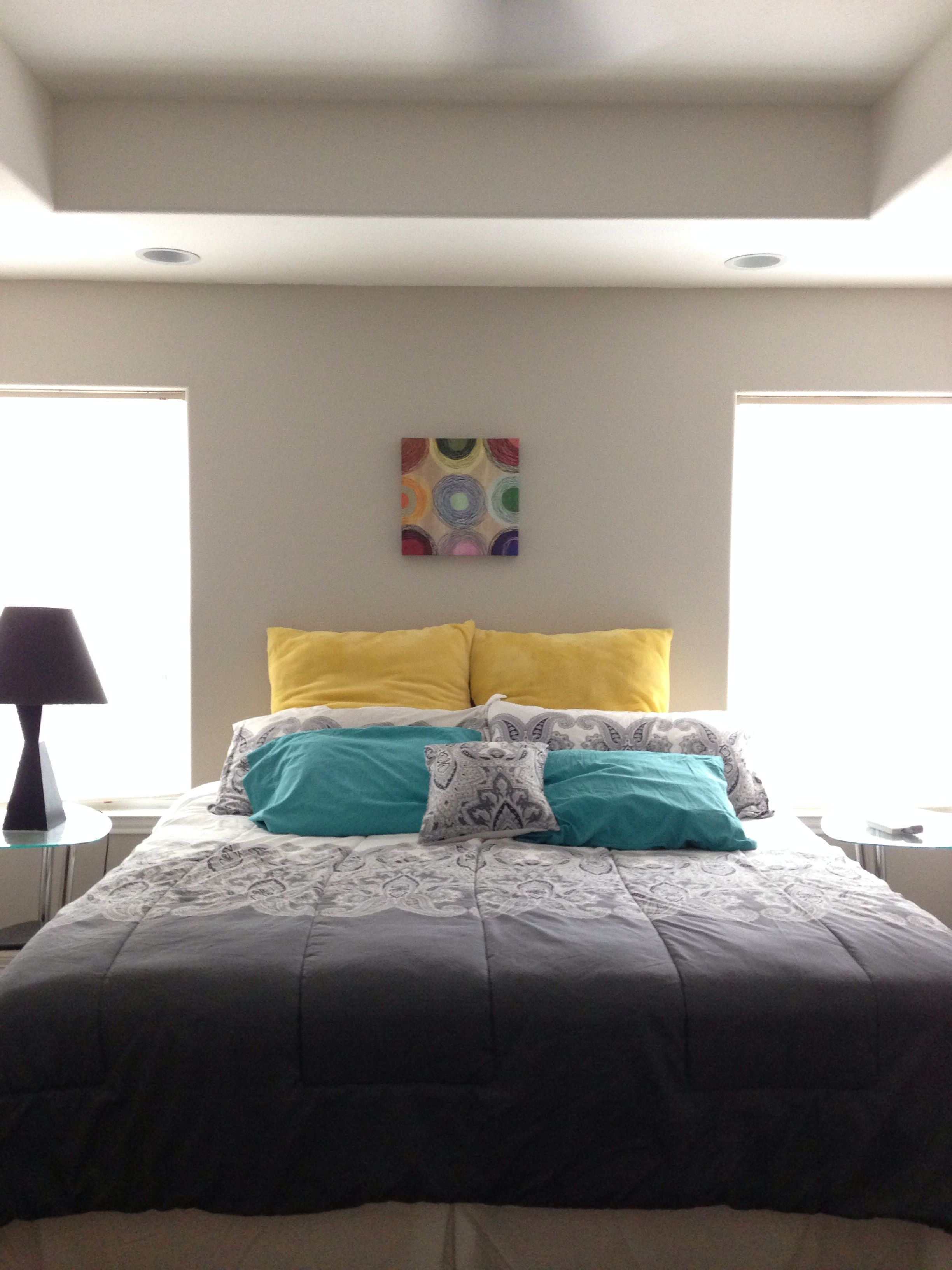 Best White Grey Yellow Teal Bedroom Color Inspiration 400 x 300