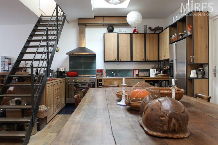 keuken houten kastfront in smeedijzer profiel
