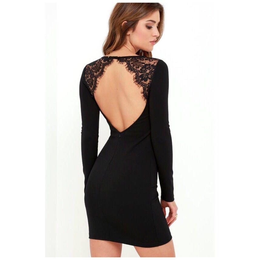 0c93bf0113 Lulu S Backless Long Sleeve Lace Dress