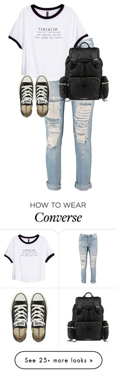 """Untitled #9850"" by alexsrogers on Polyvore featuring Boohoo, H&M, Converse and Burberry"