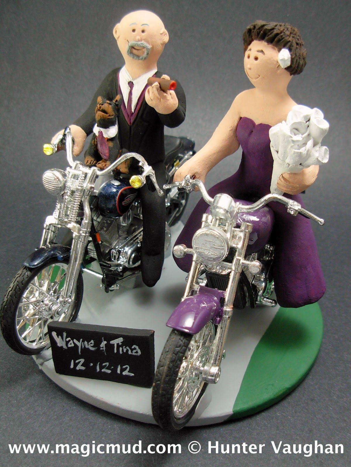 motorcycle riding bride wedding cake topper custom cakepins com