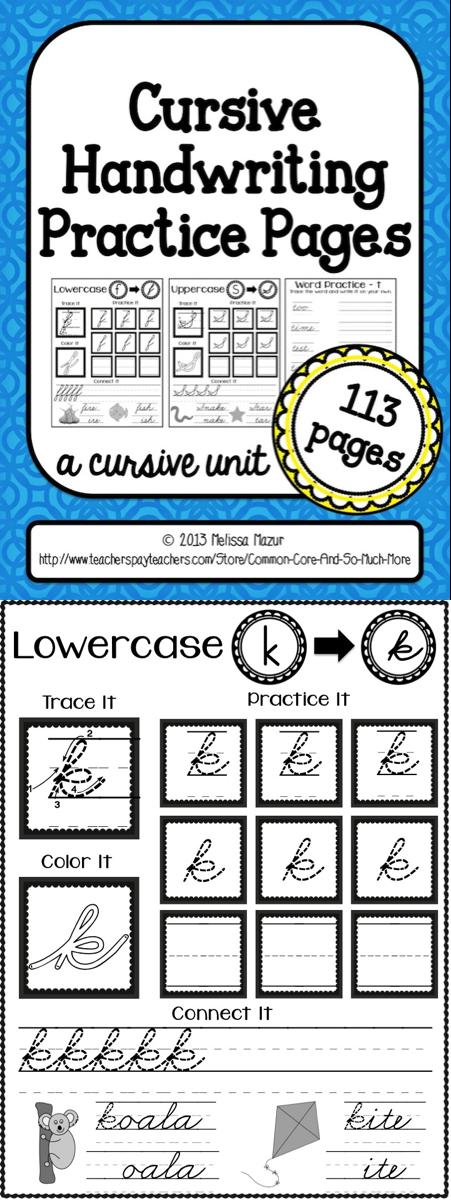 Cursive Handwriting Practice Pages | Handwriting | Pinterest ...