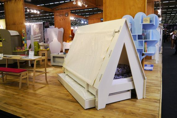 The White Tent Bed with Trundle/Storage Drawer. by MathybyBols