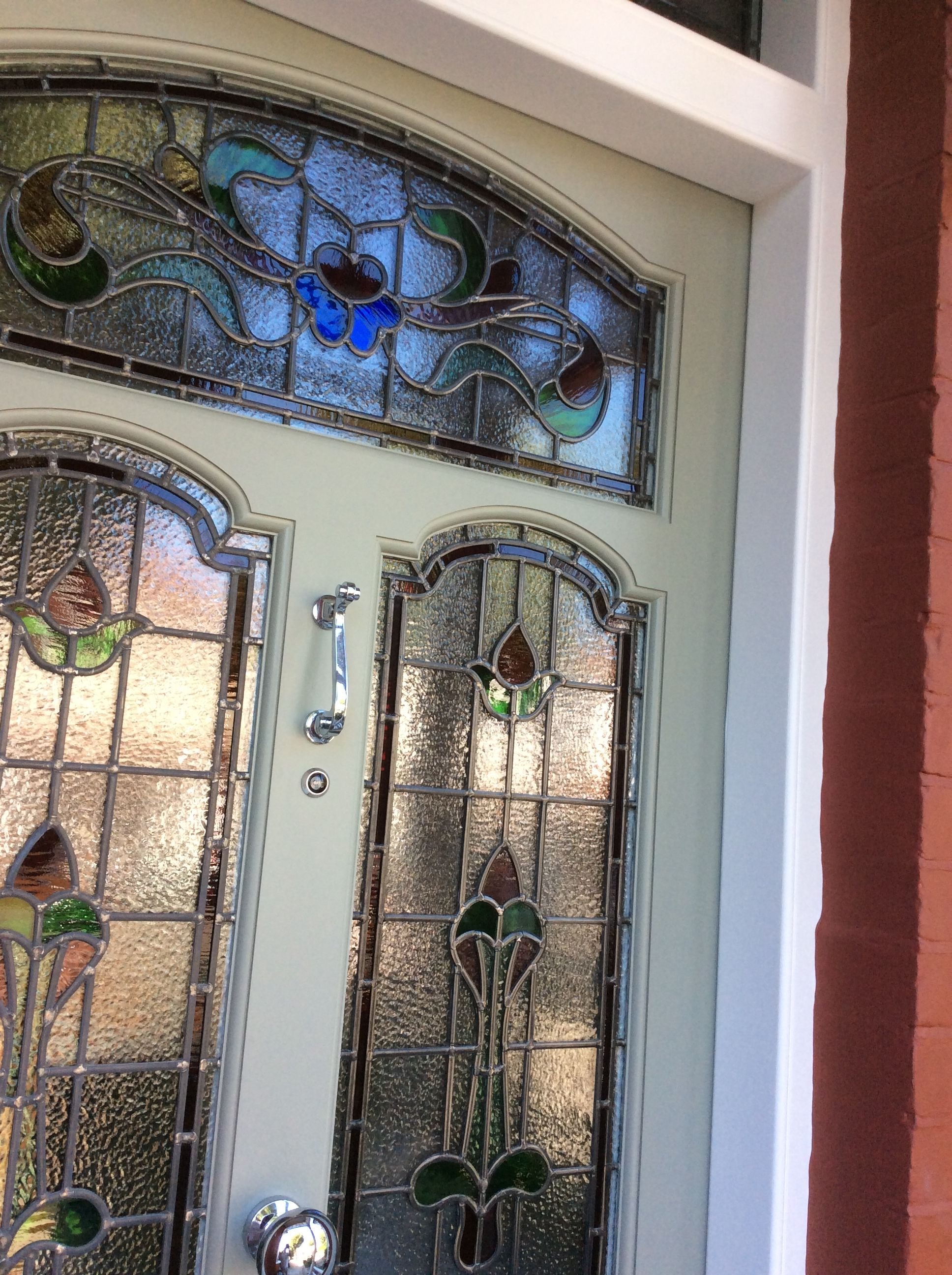 An Edwardian Front Door With Stained Glass Close Up Nat Decor