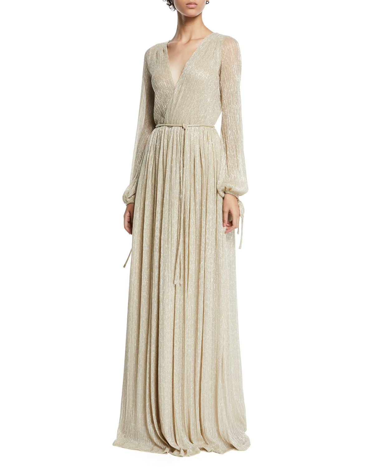 72668723a0f Christina Metallic Pleated Long-Sleeve Wrap Gown