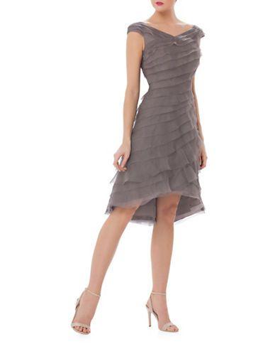 Kay Unger Cap Sleeve Asymmetrical Shutter Silk A-Line Midi Dress Women