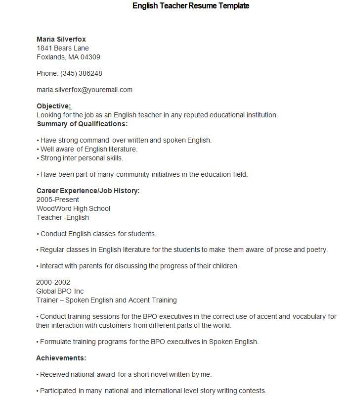 English Teacher Resume Template , How to Make a Good Teacher - esl teacher resume samples