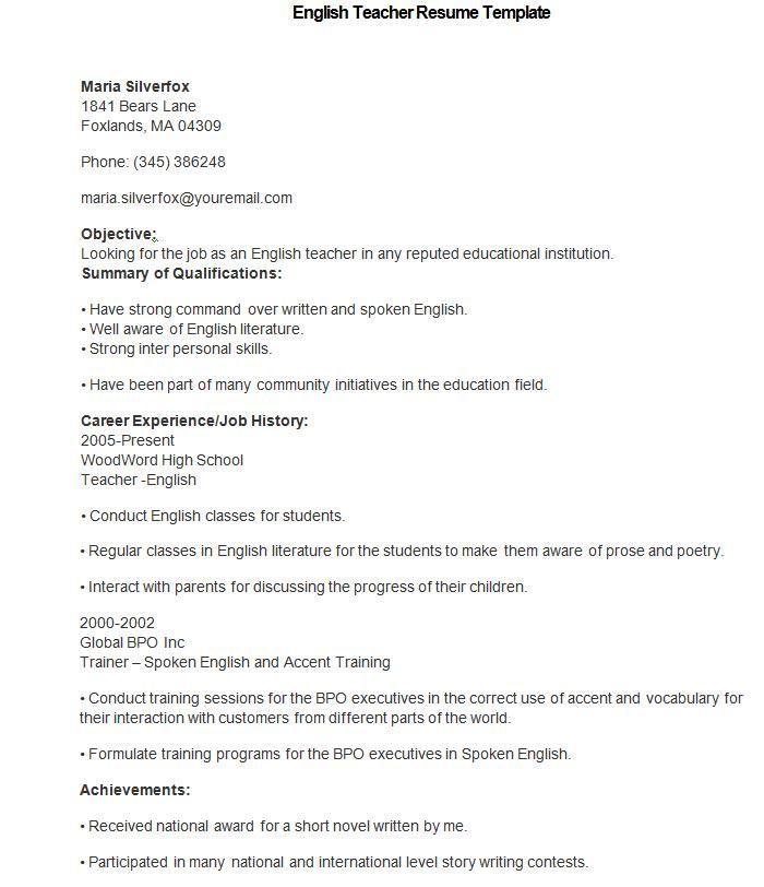english teacher resume template how to make a good teacher resume