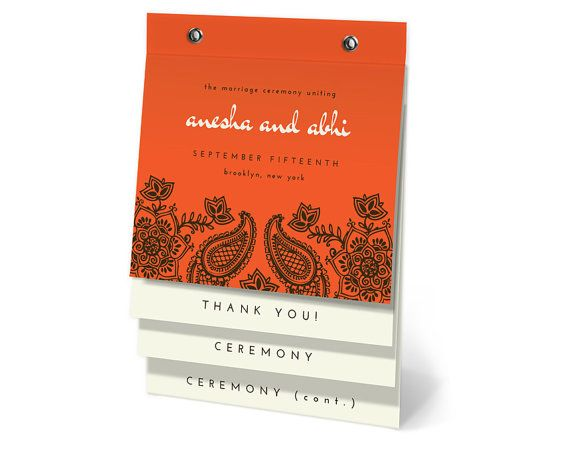 Elegant Henna Wedding Program Flip Book or Sample