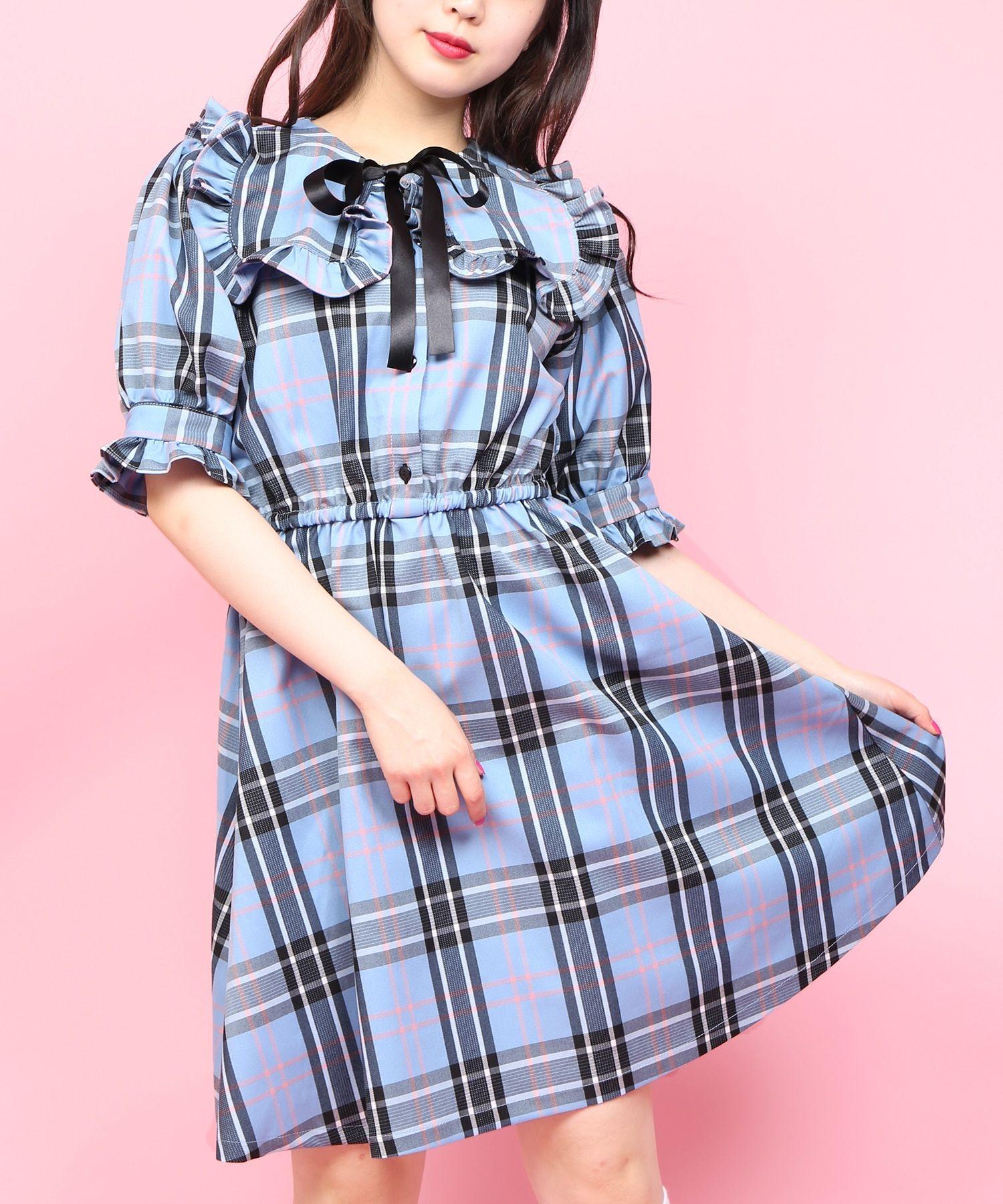 wego online store ウィゴーオンラインストア 公式通販チェックフリル半袖ワンピース wego online store ファッションアイデア ワンピース ワンピース フリル