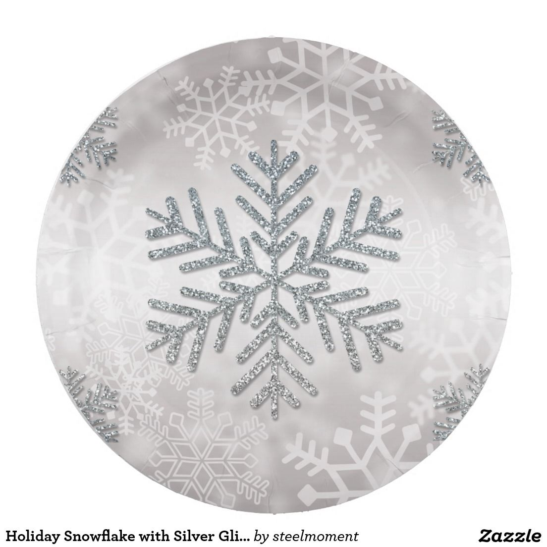 Holiday Snowflake with Silver Glitter Paper Plate | Christmas Paper ...