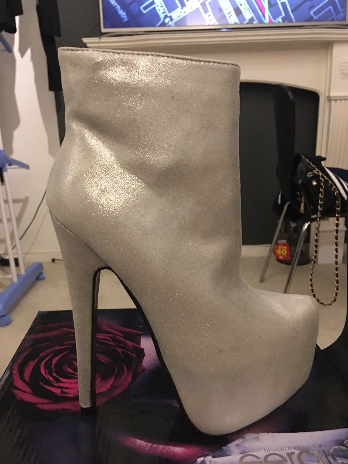 090dc7e657b51 Sergio Todzi White silver high heels ancle boots size 36 brand new ...